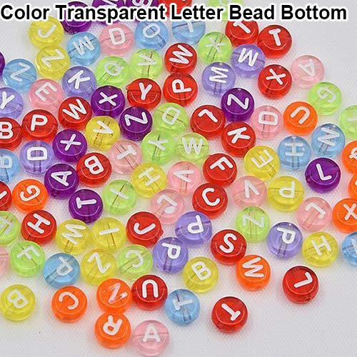 ypypiaol 100 Stück Spacer Acryl Perlen Alphabet Buchstaben Armband Schmuck Machen DIY Farbe Transparent Letter Bead Bottom