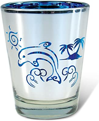 Puzzled Silver & Blue Dolphin Shot Glass 1.70 Oz Quality Glassware for Bar Collection Novelty Liquor/Spirits Drinking Glass - Marine Life Beach Animal Nautical Theme