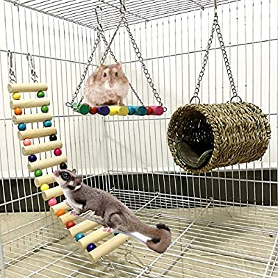 Ewolee Bird Cage Toys Set - 3 pack Parrot Cage Toys, Squirrel Hamster Sugar Glider Hammock Birds Nest Swing Pet Cage Ladder for Hamster, Squirrel, Ferret, Guinea Pig, Chinchilla, Parrot by Ewolee