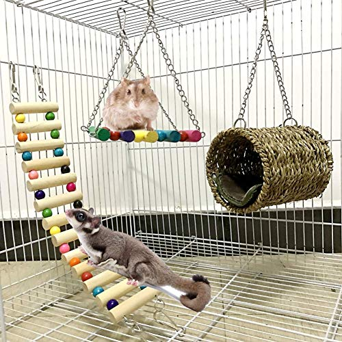 Ewolee Bird Cage Toys Set - 3 Pack Hamster Toys Parrot Cage Toys, Rat Sugar Glider Hammock Birds Nest Swing Pet Cage Ladder for Hamster, Gerbil, Degu, Squirrel, Ferret, Guinea Pig, Parrot