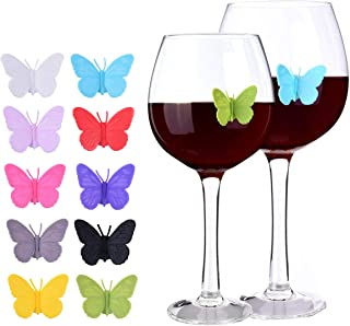 Wine Glass Markers Drink Charms Multi-colored Butterfly Tags with Magnetic Silicon Suction Cup Holiday Birthday Wedding Cocktail Party Decoration Supplies 10 pcs Set Reusable-MSL123