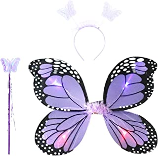 f5e7936c32 Amosfun Ensemble de 3 pièces avec Ailes de fée et Ailes de Papillon pour  déguisement et