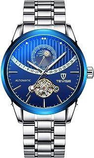 ساعة رجالي ميكانيكية آلية عرض الوقت والقمر مؤشر مضيء 30 متر مقاوم للماء من GoolRC للرجال للعمل والحياة اليومية (صندوق معبأ)