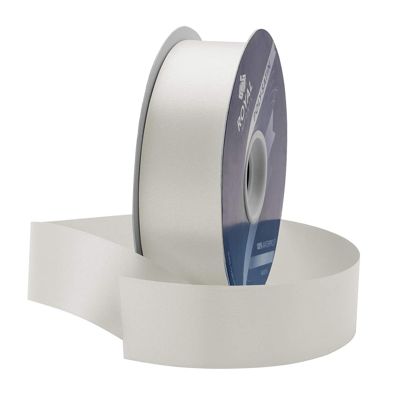 White Poly Satin Waterproof Ribbon 1 3/8