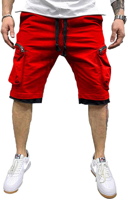 Wantess Men's Hip-hop Cargo Shorts Fashion Zipper Pockets Casual Comfortable