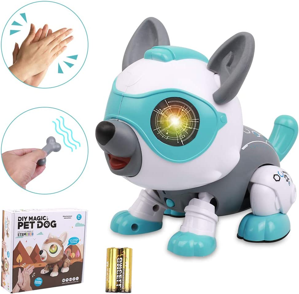 Smart Robot Hundespielzeug mit Musik Licht Remote Control Robot Hundespielzeug Multifunktionales Ber/ührendes Ferngesteuerter Hund Roboter RC Hundespielzeug f/ür Kinder Jungen M/ädchen Wei/ße