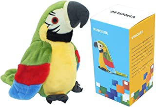 Vincilee Talking Parrot Repeat What You Say Mimicry Pet Toy Plush Buddy Parrot for Children Gift,3.94 x 7.8 inches( Green)