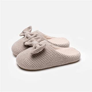 Indoor Non-Slip Knitted Wool Home Cotton Slippers Women Winter Warm Couple Slippers Slippers Anti-Skid Indoor Cosy Shoes (Color : Khaki, Size : 43-44)