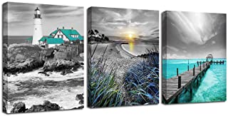 Ardemy Canvas Wall Art Ocean Seascape Blue Painting Prints Modern Lighthouse Teal Coastal..