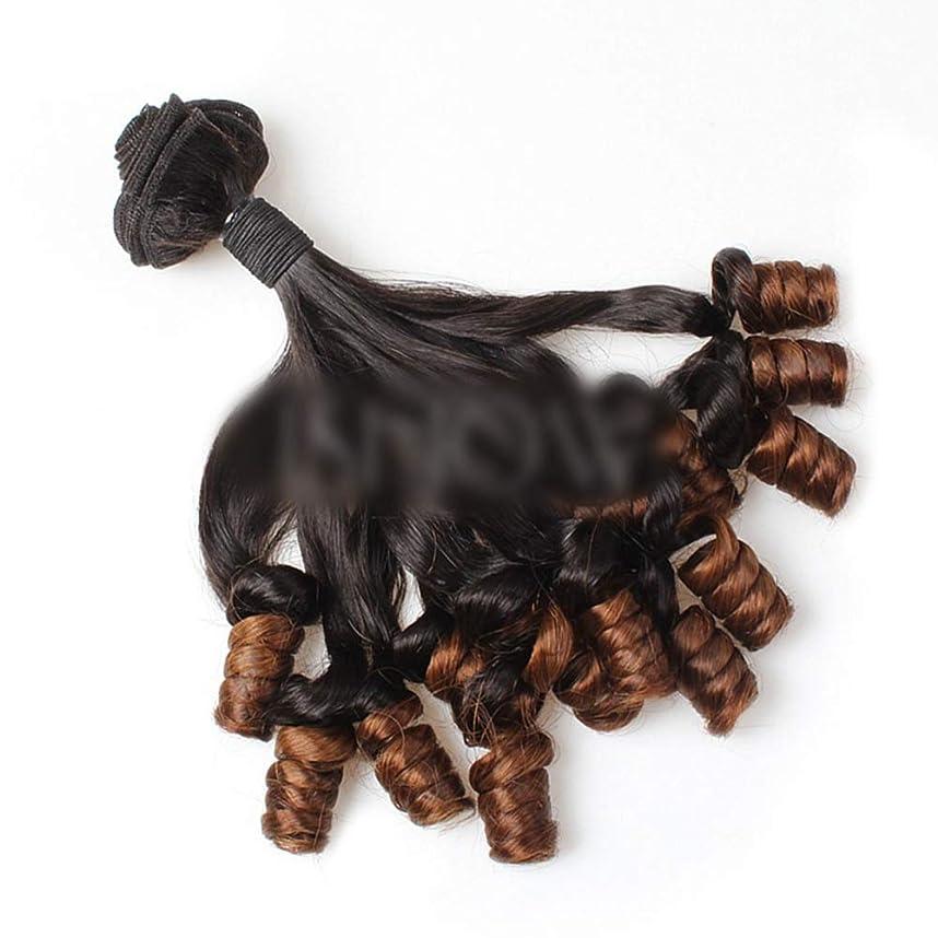 うめき増加するプラカードYESONEEP ブラジルFunmi人毛ショートカーリールーズウェーブヘアバンドル用ロールプレイングかつら女性のかつら (色 : ブラウン, サイズ : 16 inch)