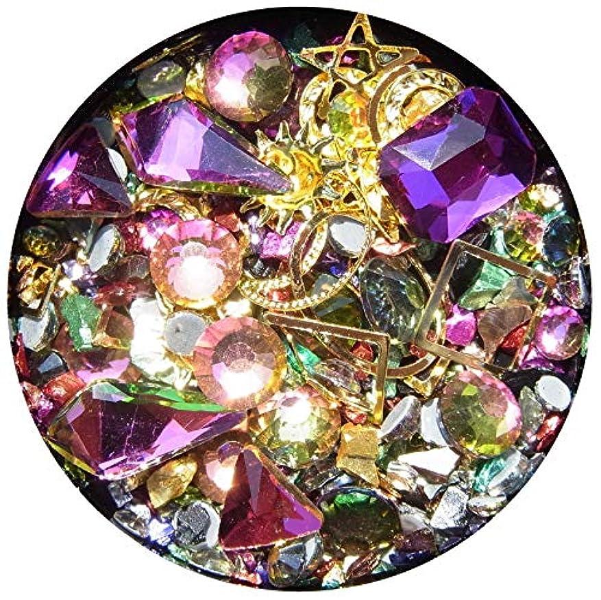 パッチ拒絶するワークショップ【jewel】メタルパーツ ミックス ラインストーン カーブ付きフレーム ゴールド ネイルアートパーツ レジン (4)