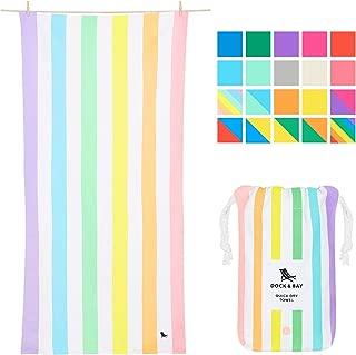 Pastel Rainbow Striped Beach Towel - Unicorn Waves, Large (160x80cm, 63x31) - Quick Dry Towel, Compact & Lightweight, Rainbow Flags