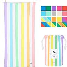 Dock & Bay Pastel Rainbow Striped Beach Towel - Unicorn Waves, Large (160x80cm, 63x31) - Quick Dry Towel, Compact & Lightweight, Rainbow Flags
