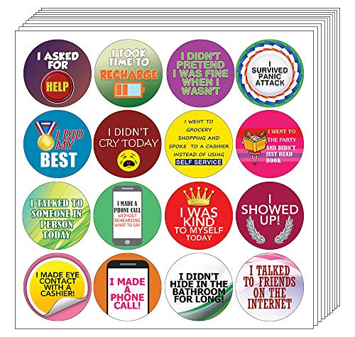 Creanoso Stickers for Adults Series 4 - Self Care (20-Sheet) – Achievements Funny Sticky Notes Card Gags for Men Women Adults – Unique Wall Art Decal Décor Sticker Notes – Employee Achievements