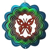 【インテリアにもガーデニングにも】 マジカルスピナー バタフライ(蝶) 直径15cm 青/緑/銅 ステンレス製 ウインドスピナー