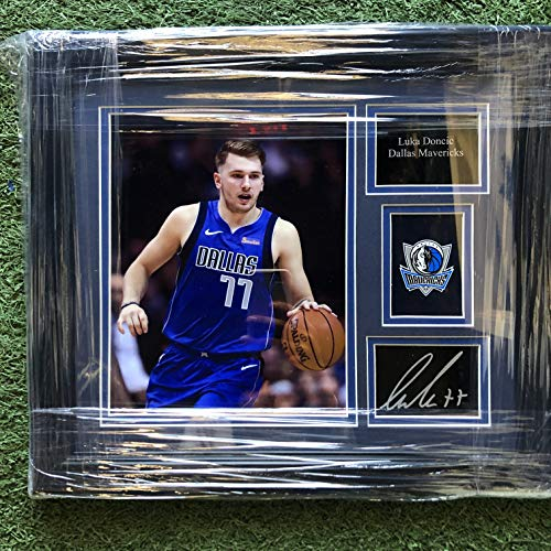 Custom Framed Luka Doncic Dallas Mavericks Photo With Laser Etched Autograph & Logo 14.5x17.5