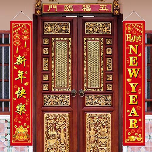 2 Piezas Pancarta de Año Nuevo Chino Decoración de Fiesta de 2020 Año de Rata Señal de Porche de Bienvenida para Festival de Primavera Chino Exterior y Interior (Happy New Year)