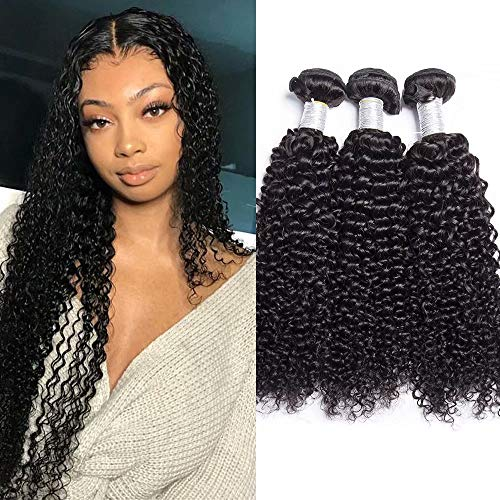 Maxine 10A Grade Malaysian Kinkys Curly Hair Weave Kinky Curly Human Hair 3 Bundles 100% Unprocessed Virgin Remy Human Hair Weave Extensions Natural Color (100+/-5g)/pc(12 14 16 inch)