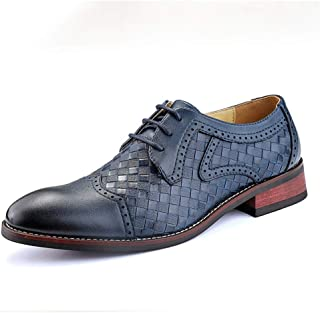 XinQuan Wang Business Oxford for Men Formal Shoes Lace Up Synthetic Leather Cap Toe Cushioning Soles Stitched Weave Pattern Solid Color Classic Modern (Color : Blue, Size : 6.5 UK)