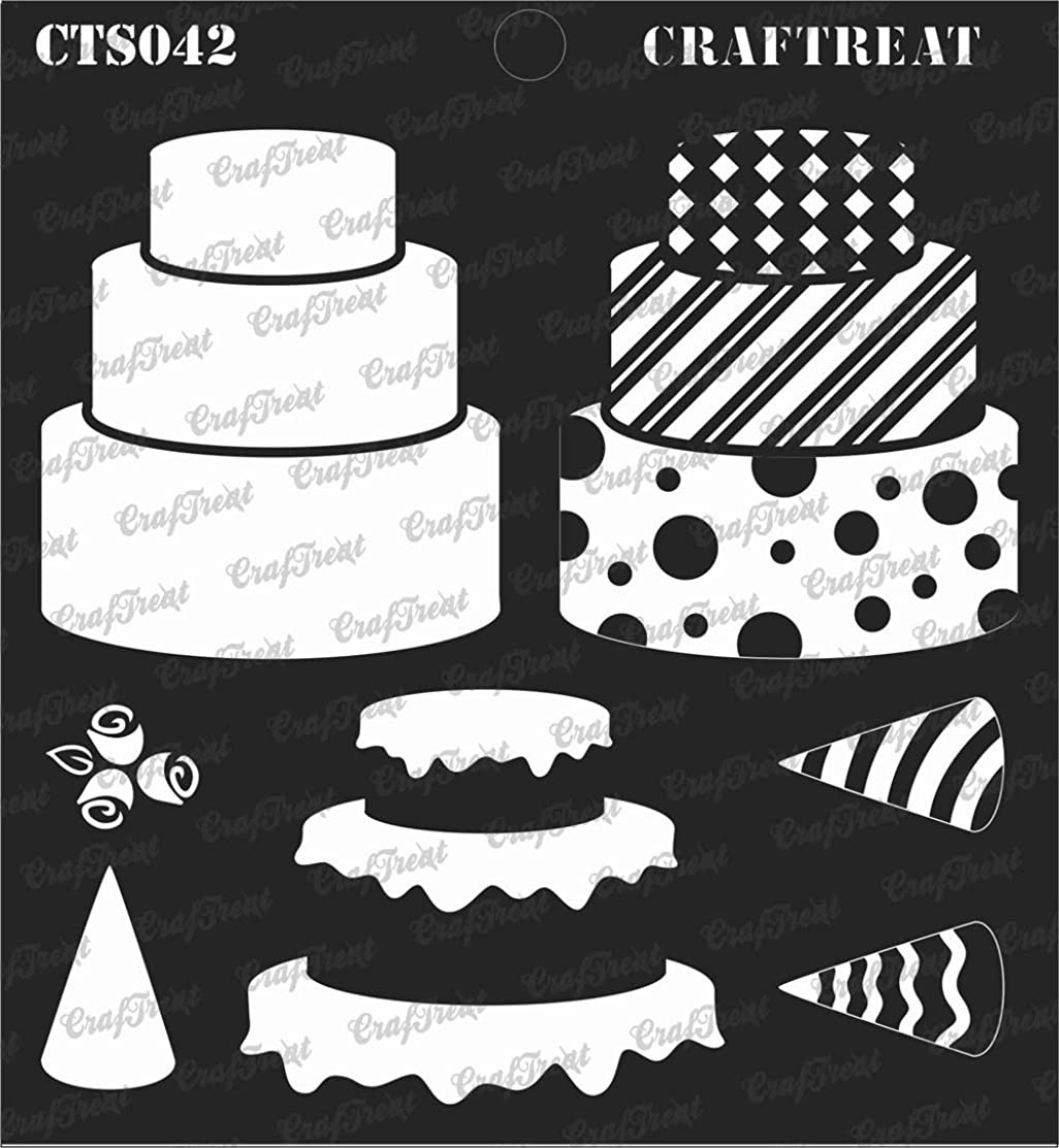 CrafTreat Layered Stencil - 3 Tier Cake | Reusable Painting Template for Journal, Notebook, Home Decor, Crafting, DIY Albums, Scrapbook and Printing on Paper, Floor, Wall, Tile, Fabric, Wood 6