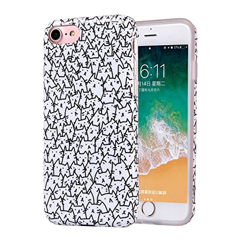 Cats iPhone 6s Plus Case for Girls, Women Best Protective Cute Clear Slim Glossy TPU Soft Rubber Silicone Black White Cover Phone Case for iPhone 6 Plus / 6s Plus (A Lot of Cats)