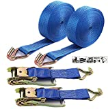 Ratchet Straps Heavy Duty, 2 Tie-Down Heavy Duty Ratchet Straps Double J Hooks–2 PK–2 in–20 FT–4333 LBS Working Load–13000 LBS Break Strength–Cargo Straps Perfect for Moving Appliances