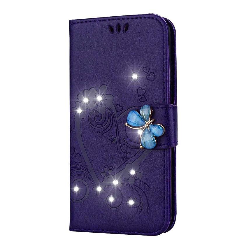 襟ネクタイあからさまGalaxy A7 2017 ケース, CUSKING ケース PUレザー カードポケット全面保護 フリップ カバー 落下防止 衝撃吸収 財布型 Samsung Galaxy A7 2017 対応, 紫