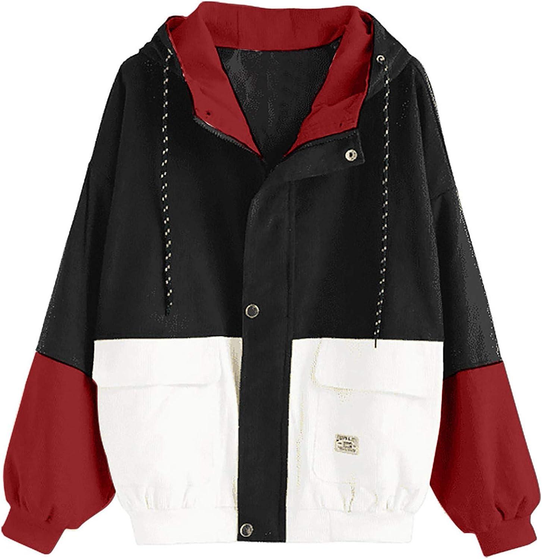 Women Corduroy Warm Coat Vintage Patchwork Overcoat Women's Zip up Pockets Jacket Long Sleeve Hooded Drawstring Coats