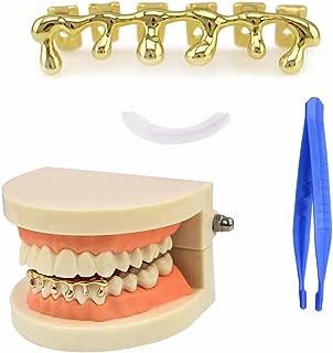 Paddsun Hip Hop Bling Bling lava Teeth Fangs Grillz Caps Top & Bottom Gold Plated Dental Grill Set