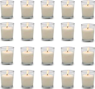 YIIA 20 Pack Warm White Unscented Clear Glass Filled Votive Candles. Hand Poured Wax Candle Ideal Gifts for Aromatherapy S...