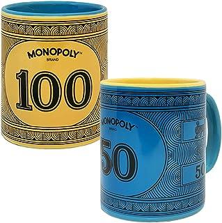 Monopoly Money Coffee Mug Gift Set of Two Mugs, Includes $100 Monopoly Original Yellow Mug and $50 Monopoly Vintage Blue M...