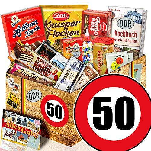 DDR Produkte L - Zahl 50 - Geburtstags Geschenk Papa - Süßigkeiten Box