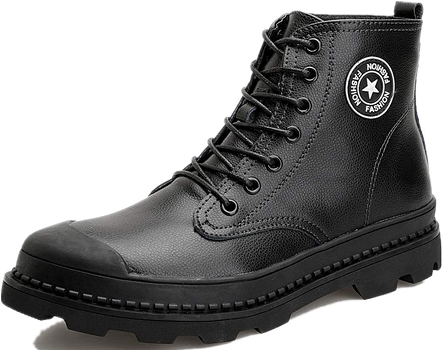 WENHUI Men's Fashion Leather High to Help British Trend Tooling Boots Leather Martin Boots