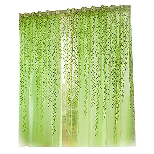 Demiawaking Stile Pastorale Willow Floreale Tenda della Finestra Decorazioni Interni Finestre Camera da Letto 1 * 2M (Verde)