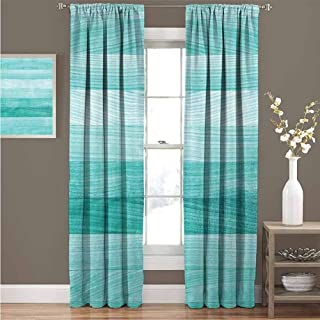 GUUVOR Teal Decor Shading Insulated Curtain Painted Wood Texture Penal Horizontal Lines Birthdays Easter Holiday Print Backdrop Soundproof Shade Curtain 100
