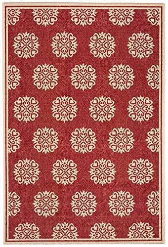 Safavieh Tapis Multifonction intérieur/extérieur en polypropylène tissé Rouge/crème 120 x 180 cm
