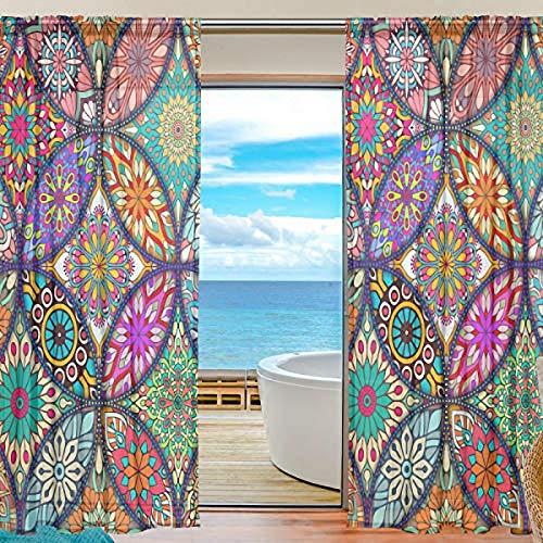 Curtains Panels Colorful Mandala Bohemian Window Sheer Panels for Living Room Drapes 84 inch Long, Set of 2 Panels