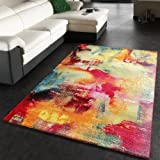 Tapis Design Moderne Toile Optique Multicolore Vert Bleu Rouge Jaune, Dimension:80x150 cm