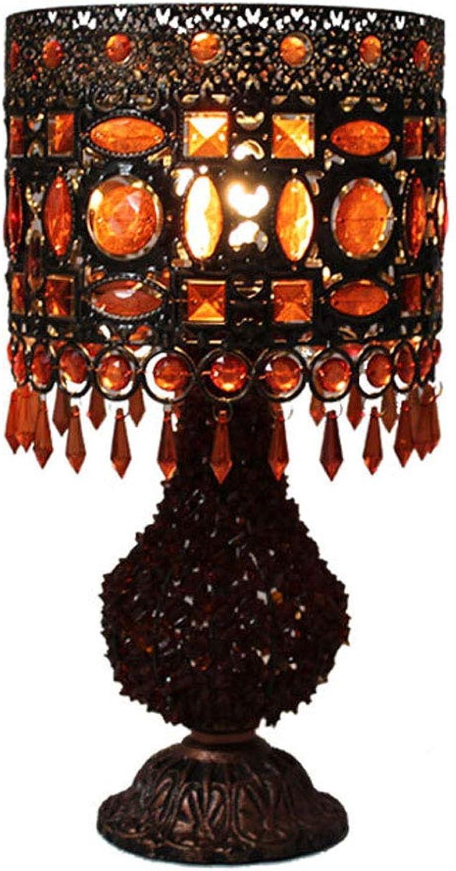 WZJ-TISCHLEUCHTE Europische klassische handgefertigte Glasperlenlampe einfaches Wohnzimmer Schlafzimmer Bedside Eye-Caring Leselampe