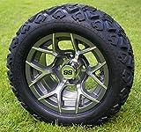 12' RALLY Gunmetal Golf Cart Wheels and 20x10-12 DOT All Terrain Golf Cart Tires - Set of 4 - NO LIFT REQUIRED (read description)