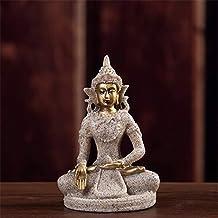 PPCP Resin Buddha Statue Decoration Nature Sandstone Buddha Sculpture Figurine Meditation Home Decoration (Color : Silver)