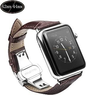 Xboun コンパチブル apple watch バンド,本革 ビジネス用 アップルウォッチバンド プッシュ式 Dバックル Apple Watch Series 5/4/3/2/1/Nike+ (42mm/44mm,ブラウン)