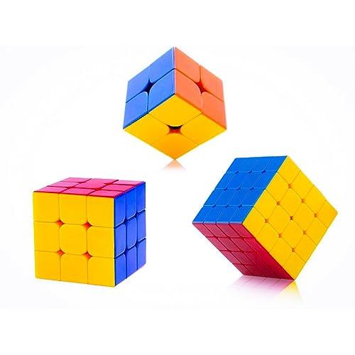 D ETERNAL High Speed Stickerless Magic Rubix Cube, 2x2, 3x3, 4x4 (Multicolour) - Pack of 3