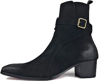 MERRYHE Bottines à Talon cubain en Daim pour Hommes, Bottes de Cow-Boy occidentales, Bottes Chelsea, Chaussures de Motard,...