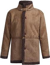 Sunward Coat for Men,Men's Winter Sheepskin Jacket Warm Wool Lined Mountain Faux Lamb Jackets Coat
