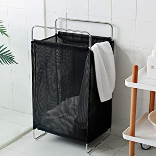 CHICHIC Large Laundry Hamper Laundry Basket, Foldable Clothes Storage Basket, Home Collapsible Removable Dirty Clothes Bin Box, Rectangular Breathable Mesh Laundry Bag Easily Transport Handles (Black)
