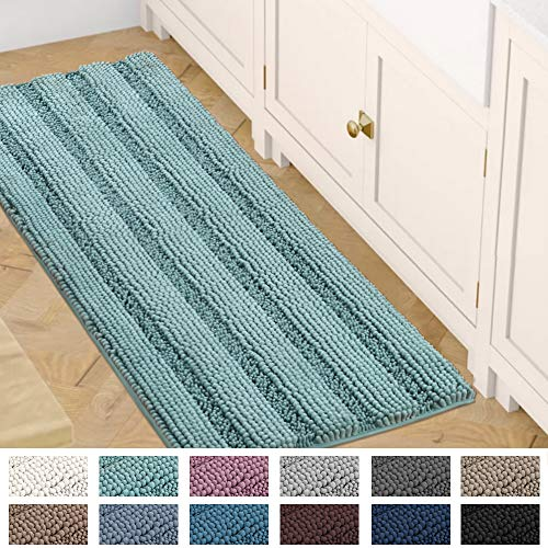 Bath Mats for Bathroom Non Slip Luxury Chenille Striped Bath Rug Runners 47x17 Absorbent Non Skid Fluffy Soft Shaggy Rugs Washable Dry Fast Plush Area Carpet Mats for Bath Room, Tub - Eggshell Blue