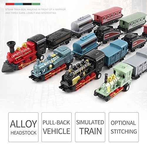 ACHICOO Modellbahn Spielzeug, 4pcs Kinderlegierung Simulation Dampfzug Kreative Mini-Auto Modelle Spielzeug Geschenke für Kinder rot Kinder, Freunde