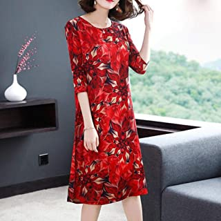 Alician Woman Leisure Dress Slim Casual Cotume with Flowers Decorated Gifts for Mother's Day