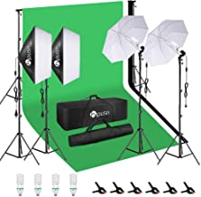 HPUSN Softbox Lighting Kit Studio Lighting Kit with 2 20-in X 28-in Reflectors and 2 Soft Umbrellas, 4pcs E27 85W 5500K Bulb and Max 8.5ft x 10ft Background Support System for Photography Video, etc.